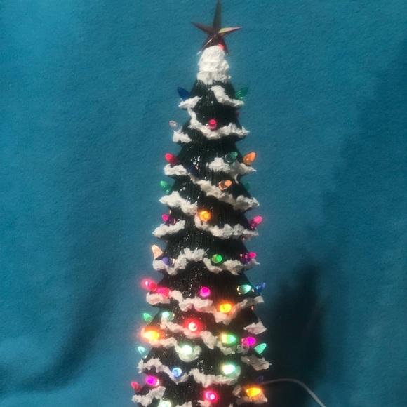 Glazed Slim Christmas Tree With Snow And Base Nwt